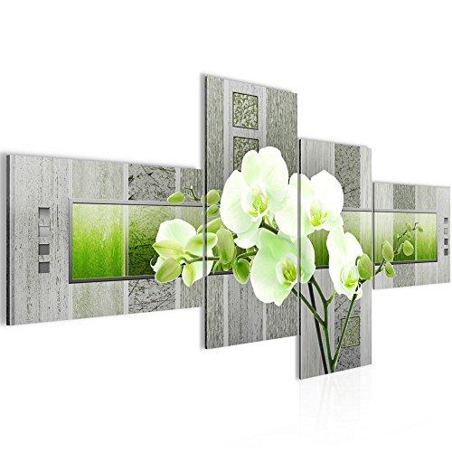 Bilder Blumen Orchidee Wandbild 200 x 100 cm Vlies - Leinwand Bild XXL Format Wandbilder Wohnzimmer Wohnung Deko Kunstdrucke Gelb 4 Teilig -100% MADE IN GERMANY - Fertig zum Aufhängen 204641b (Von Orchideen Bilder)