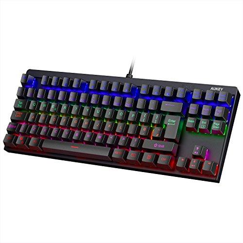 Aukey Mechanische Tastatur hintergrundbeleuchtet blau Switches 88Tasten UK Layout Gaming Tastatur Metall Platte 100{9bd5b33f61602e892668b3b404a0ed4f2432dc6b36963af21ed7c3830216afe3} Anti-Ghosting mit Key Cap Abzieher für Gamer und typists