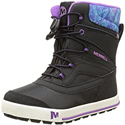 Merrell ML-g Snow Bank 2.0 Waterpoof, Botas de Senderismo Para Niñas, Negro/Morado (Black/Print/Berry), 38 EU