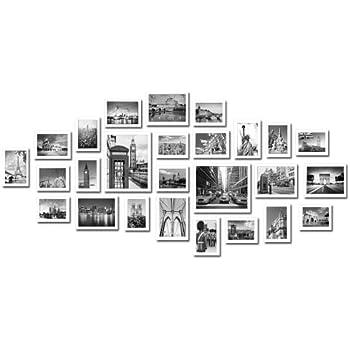 large multi picture photo frames wall set 26 pieces set white kitchen home. Black Bedroom Furniture Sets. Home Design Ideas