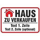 Schild 20x30 cm Haus zu Verkaufen 3mm Aluverbund mit Ihrem Wunschaufdruck z.B. Telefonnummer, Name, Mailadresse Etc.