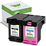 2 Packung GREENBOX Wiederaufbereitet HP 302 XL 302XL Tintenpatronen Ersatz (1x Schwarz, 1x Farbig) Kompatibel mit HP Deskjet 3636 3630 1110 2130 2130 3633 HP Envy 4525 4520 4524 HP Officejet 3831