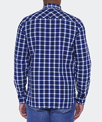Fred Perry Fischgräten Gingham Hemd Mitte Blau Blau
