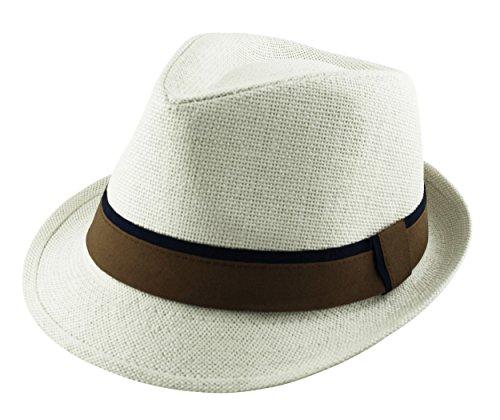 Papier Paille Unisexe-Chapeau Fedora feutre Tons - 2 Bandeau Pare-soleil-Unisexe-Brun naturel, en bleu et blanc Blanc - Blanc