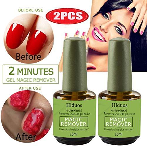 88AMZ Magic Remove UV Gel Nail Polish Magic Remover Soak Off Nail Art Primer Acrylic Clean Nail Art Soak Off Remover Gel Polish Acrylic Removal 15ML (2PC)