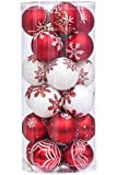 Sea Team 60mm/2.36 Delicate Contrast Color Theme Painting & Glittering Christmas Tree Pendants Decorative Hanging Christmas Baubles Balls Ornaments Set - 24 Pieces (Red & White) by Sea Team