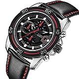 JEDIR Herren Chronograph Uhr Analog Quarzuhr mit Datum Sport Style und Weichem Lederarmband (Schwarz)
