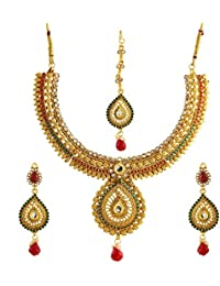 Zeneme Designer Red Green Kundan Polki Jewellery Set / Necklace Set With Earring & Maang Tika For Women