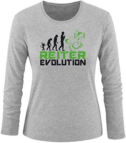 EZYshirt® Reiter Evolution Damen Longsleeve Grau/Schw/Grün