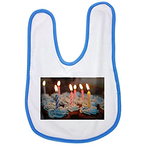Birthday Cake, Cake, Birthday, Cupcakes baby bib in blue
