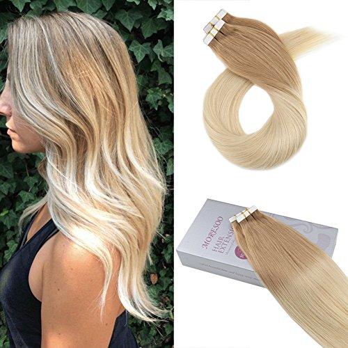 Moresoo Remy Echthaar Extensions Tape in Hair Extensions Echthaar Ombre #12 Glonden Brown to #60 Blonde Brasilianisches Haarverlängerung Two Tone Extensions 24/60 zoll 20pcs/50gramm