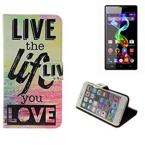 K-S-Trade Für Archos 55 Platinum Schutz Hülle 360° Wallet Case ''live Life Love'' Schutzhülle Handy Tasche Handyhülle Etui Smartphone Flip Cover Standfunktion (1x)