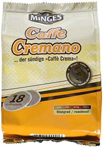 Minges Caffe Cremano, 18 Kaffeepads, Aroma-Softpack, 126 g, 6er Pack (6 x 126 g)