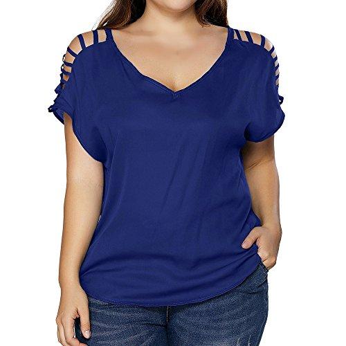 Zimuuy Zimuuy Damen Sommer Bluse, Frau Mode Lässige Plus Größe Aushöhlen Pullover Kurzarmhemd Oberteile Tunika (XXXL, Blau)