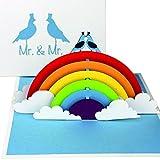 """3D Hochzeitskarte """"Gay Wedding - Birds in Love"""" - Pop Up Karte """"Mr. & Mr."""" als Einladungskarte, Einladung & Geschenk zur schwulen Hochzeit"""