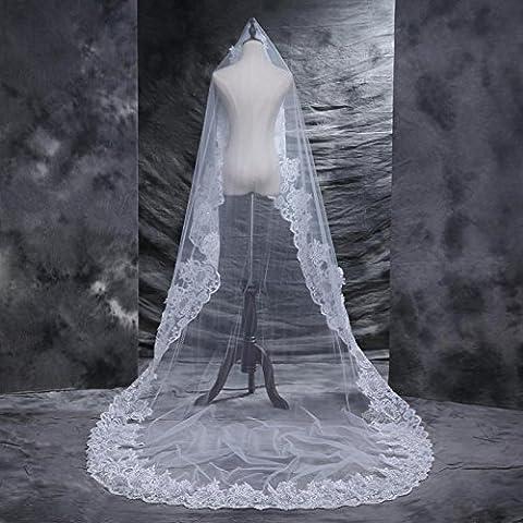 Voile de mari'e Mariage Bord de dentelle avec des lentilles Voile de fil … queue grande