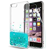 LeYi Hülle iPhone 6 Plus/iPhone 6S Plus Glitzer Handyhülle mit HD Folie Schutzfolie,Cover TPU Bumper Silikon Treibsand Clear Schutzhülle für Case Apple iPhone 6 Plus Handy Hüllen ZX Turquoise