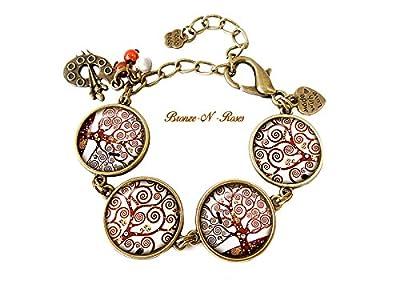 Bracelet Arbre de vie Spirales cabochon bronze gustav Klimt reproduction