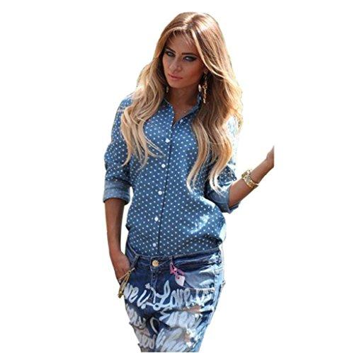 Vovotrade® Femmes Chemise à Manches Longues blouse Hauts Split-shirt avec Bleu Point d'amour Bleu