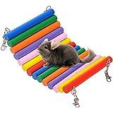 Balancín de madera figura de rata ratón pájaro loro hámster para colgar hamaca juego juguetes para animales pequeños colorido
