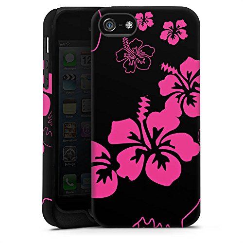 Apple iPhone 5 Housse Étui Silicone Coque Protection Fleurs Fleurs Noir rose Cas Tough terne