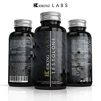Testosterone Booster Formular TESTOLONE - #1 Natural Test Boosting Supplement By Bioking Labs | Super Strength Testosterone Supplement, Lab Tested To Help Increase Test Levels, Boost Stamina & Redcude Fatigue | Contains Tribulus, Maca, Feenagreek & Ginkgo