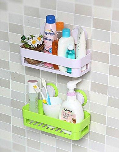 Leisial™ Rechteckig Sucker Badezimmer-Racks Badezimmerablagen und-regale Badezimmer Aufbewahrung Hängend Weiß 26*12*7CM