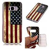 Hülle für Samsung Galaxy S8 Plus ,JIENI Handyhülle Weich TPU Silikon Amerikanische flagge Etui Schutzhülle Stoßkasten Bumper Slimcase Case Tasche für Samsung Galaxy S8 Plus
