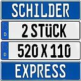 2 Stück EU KFZ Nummernschilder Kennzeichen Autoschilder , EU Größe 520 x 110 + KFZ Schein Schutzhülle