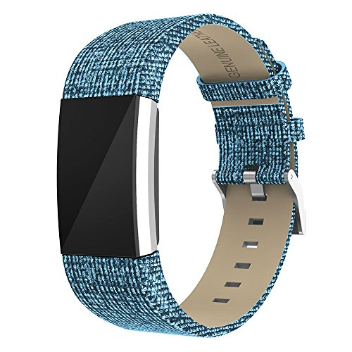 """Zeehar Ersatz-Armband für Fitbit Charge 2 aus Echtem Leder für Fitbit Charge 2 Fitness-Armband, blau, 5.5""""-8.1"""""""