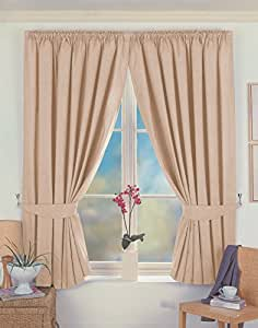 "One pair of Norfolk Pencil Pleat (3"" header) Thermal Curtains in Beige, Size: 90x54"" (229 x 137 cm) width x drop"