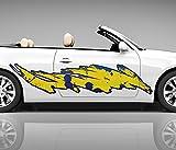 2x Seitendekor 3D Autoaufkleber gelb Flamme Digitaldruck Seite Auto Tuning bunt Aufkleber Rennstreifen Seitenstreifen Dekor Racing Autofolie Car Wrapping Motorrad LKW Decals Sticker Tribal Seitentribal CW007 Airbrush Carwrap, Größe LxB:ca 120x30cm
