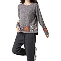 ALUK- Suéter de otoño e invierno ocio párrafo corto de manga larga camisa de punto ( Color : Gris claro , Tamaño : XL )