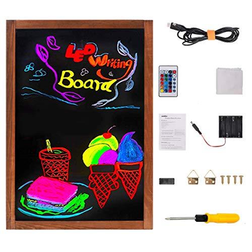 UNHO Pizarra LED Luminosa Tablero de Mensajes LED Tablero de Escritura y Dibujo Pizarra de Madera con Superficie de Vidrio 15 Colores y 4 Modo de Luz Incluye Control Remoto 60 x 40cm