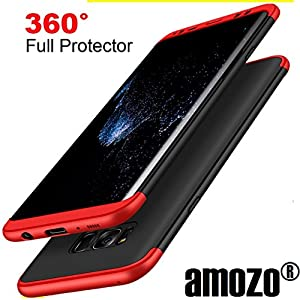 Amozo Shockproof 360 Degree All Side Protection Case Cover For Samsung Galaxy S8 (Red/Black)