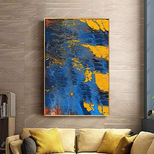 SQSHBBC Moderne Gelbe Und Blaue Abstrakte Ölgemälde Auf Leinwand Poster Und Drucke Wandkunst Bilder Für Wohnzimmer Wohnkultur Ungerahmt 30x45 cm Kein Rahmen
