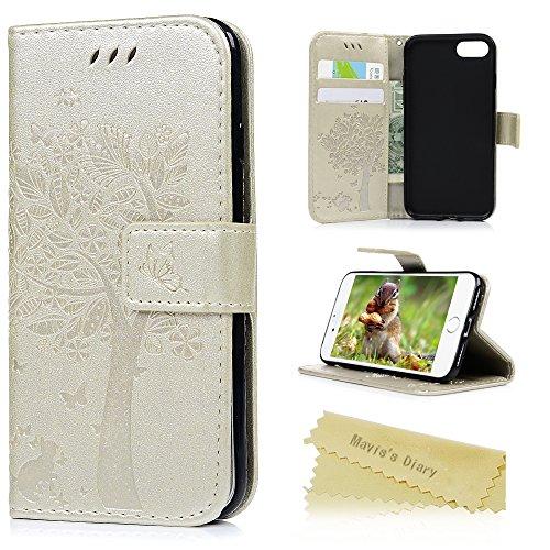 """Mavis's Diary Étui iPhone 7 (4.7"""") Coque en Cuir Or Arbre Imprimé Housse Portefeuille Fente de Carte Étui à Rabat Fermeture Magnétique Flip Phone Case Cover+Chiffon or"""