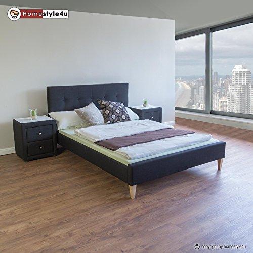 Homestyle4u 1734 Polsterbett 180 x 200 Doppelbett Stoffbett Bettgestell mit Rückenlehne & Lattenrost Bett Schwarz