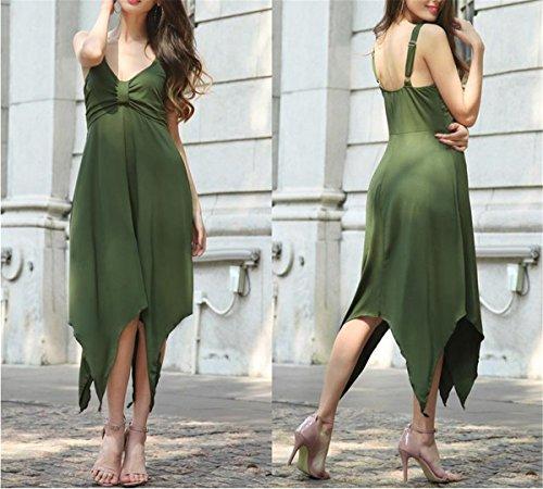 SHUNLIU Damen Elegant Unregelmäßig Festkleider Abschlussball Abendkleider Armschlingekleider Grün