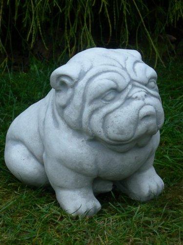 Unbekannt Skulptur Gartenfigur Deko Figur Hund Bulldogge H 22 cm Tierskulptur aus Beton Gartendeko Garten Dekofigur Gartenskulptur -