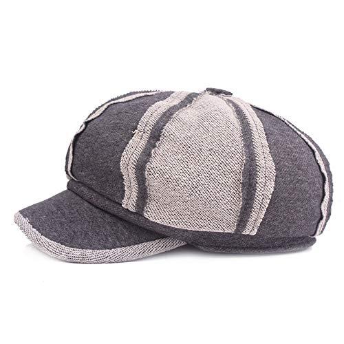MKHDD Frauen-Herbst-Baumwollpatchwork-Achteckige Kappen-Zeitungsjungen-Hut, Umgekehrte Nähende Maler-Hüte Zufällige Emporgeragte Kappe Gorra