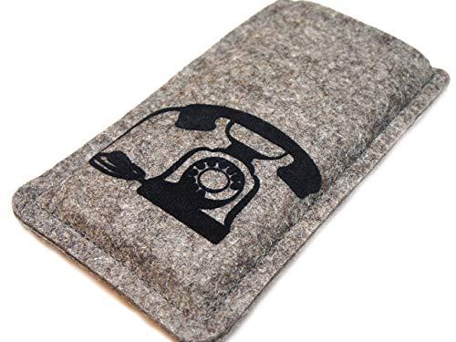 Handytasche aus Filz mit aufgeflocktem Telefon, Maßanfertigung passend für dein Smartphone