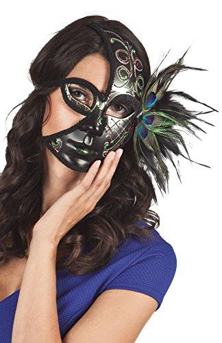 erdbeerclown- Kostümzubehör: Venezianische Halbmond-Maske, Pfau, (Augen Make Kostüm Pfau Up)