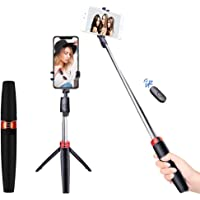 pTron Glam Plus Bluetooth Extendable Selfie Stick with Tripod Stand, Wireless Remote, 73cm Extended Length, Compatible…