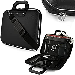 House Of Quirk Cady Collection Durable Briefcase Carrying Laptop Tab Ipad Mini Macbook Air Case With Removable Shoulder Strap For 15.6(Black)