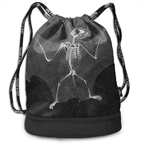 (BAOQIN Bat Skeleton Dance Print Drawstring Bags - Simple Gym Shoulder Bags)