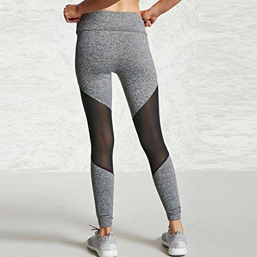Ineternet Femmes Sport Pantalons Athlétique d'entraînement Fitness Yoga Leggings Pantalons de Gymnastique Gris (Couture)