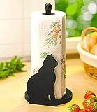 WENKO Küchenrollenhalter Katze schwarz, Höhe 30 cm
