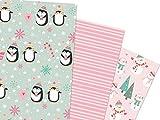 KuschelICH Geschenkpapier Weihnachten Bogen 6er Set Pinguin Schneemann - 6 Bogen á 50 x 70cm - Lieferung gerollt ohne Falz (rosé-türkis)