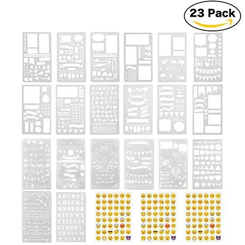 Lynlon Zeichenschablonen, 20 Stück und 144 Aufkleber für Journaling, Filofaxing, Scrapbooking, Kartenbasteln und für Kunst-Projekte, Tagebuch Schablonen